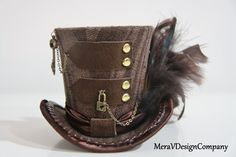 Mini Top Hat, Steampunk Brown Mini Hat Brass Lock Key Chain Gold Studs, Alice In Wonderland, Mad Hatter Hat, Gothic Burlesque via Etsy