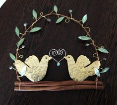 Hammered brass doves/ olive branch/ olive wreath  pigeon wreath/ wall decor… Branch Decor, Wall Decor, Dove And Olive, Olive Wreath, True Beauty, Pigeon, Metal Art, Floral Wedding, Wedding Gifts