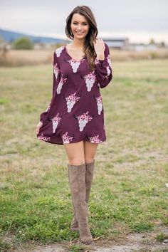 Texas Dust Bull Skull Long Sleeve Skift Dress (Wine) - NanaMacs.com - 1