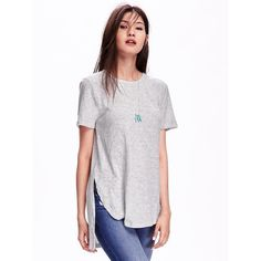 Old Navy Short Sleeve Tunic Tee ($17) ❤ liked on Polyvore featuring tops, t-shirts, grey, short sleeve tops, round top, short sleeve tee, old navy and gray t shirt