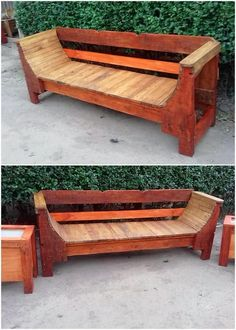 Easiest and Cheap DIY Projects with Old Shipping Wood Pallets Pallet Garden Benches, Pallet Dining Table, Diy Outdoor Table, Wooden Pallet Projects, Wooden Pallet Furniture, Diy Projects, Bench Furniture, Pallet Ideas, Recycled Pallets