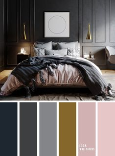 10 Best Color Schemes for Your Bedroom { Dark Grey + Mauve }, grey color palette. 10 Best Color Schemes for Your Bedroom { Dark Grey + Mauve }, grey color palette, colour palette Dark Master Bedroom, Mauve Bedroom, Dark Gray Bedroom, Grey Bedroom Decor, Bedroom Door Design, Grey Room, Bedroom Ideas, Bedroom Inspo Grey, Mauve Living Room