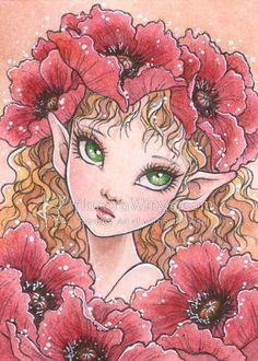 Open Edition ACEO Print - Big Eyed Poppy Fairy - Red Poppy Elf with Green Eyes - Fantasy Art by Mitzi Sato-Wiuff