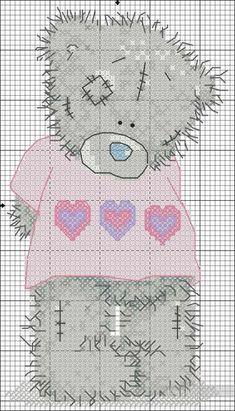 Мишка тедди Me to you - схема вышивки крестиком