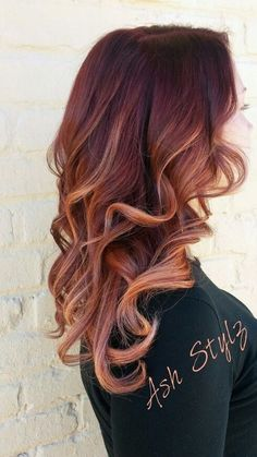 Curly, Long Hairstyles with Mahogany and Copper Color