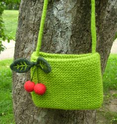 Knitted Green Bag With Cherry Decoration
