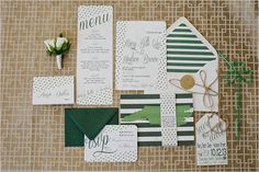 Green & Gold Wedding Invitation Suite with Personalized State Save the Date! Invitation Paper, Stationery Paper, Stationery Design, Invitation Design, Invitation Suite, Wedding Pins, Wedding Paper, Dream Wedding, Wedding Day
