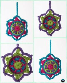 DIY Crochet Jewelled Snowflake Ornament Free Pattern - Crochet Christmas Ornament Free Patterns