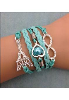 Charm Bracelet, love, infinity and Eiffel Tower