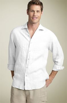 "For groomsmen.....I like the long sleeve rolled up look  Tommy Bahama - ""Corsica"" Linen Sport Shirt"