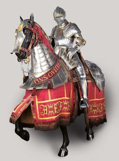 Desiderius Helmschmid, German, documented 1513–1579  Equestrian Armor of Emperor Charles V, Augsburg, c. 1535–1540 (lance, 16th-19th century) etched, embossed, and gilt steel, brass, leather, fabric (lance: steel and wood) Patrimonio Nacional, Real Armería, Madrid