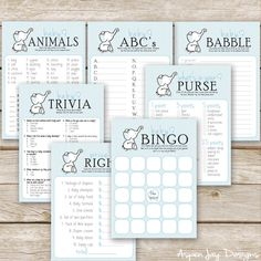 Blue Elephant Baby Shower Games Package  SEVEN by AspenJayDesigns