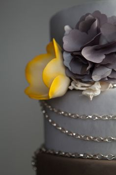 Yellow and Gray Wedding Cake - could throw in some navy ribbons as ...