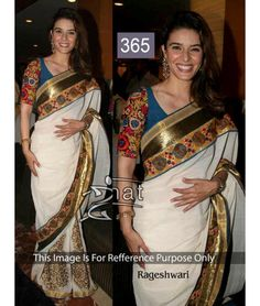 Raageshwari Ready made Cloths online, White georgette indian sari, U neck blouse Bollywood Sarees Online, Bollywood Designer Sarees, Bollywood Dress, Bollywood Fashion, Bollywood Style, White Saree, Ethnic Wear Designer, Casual Saree, Georgette Sarees