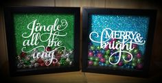 """These adorable 8"""" × 8"""" shadow boxes are a cheerful and festive addition to your holiday decor. With a sparkling glitter background, each shadow box contains fun"""
