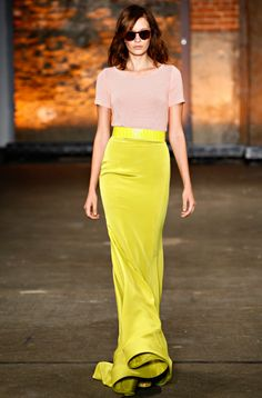Yellow and  pink maxi skirt outfit @CSiriano