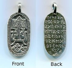 "Charm - Modeled from the Lillbjärs picture stone found in Stenkyrka, Gotland, Sweden, the inscription on the back is Frigga's blessing to Odin ""Unharmed go forth, Unharmed return, Unharmed safe home."