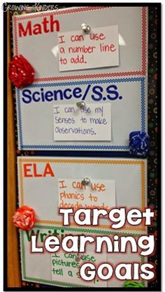 """Our school implemented a """"push"""" to post and articulate our learning goals for each lesson this year. Teaching all subjects, can make pla. 4th Grade Classroom, Kindergarten Classroom, School Classroom, Classroom Ideas, Classroom Signs, Future Classroom, Classroom Promise, Classroom Walls, Music Classroom"""