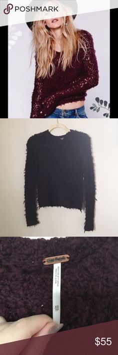"""NWOT Free People """"September Song"""" Sweater NWOT Free People september song pullover sweater in the color eggplant. 51% acrylic 25% wool 24% nylon. Size XS Free People Sweaters Crew & Scoop Necks"""