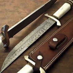  KNIVES ZONE  Beautiful Custom Handmade Damascus Steel Hunting Bowie Knife Camel Bone