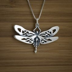 Small Celtic Dragonfly - STERLING SILVER - (Just the pendant, chains are sold separately.)