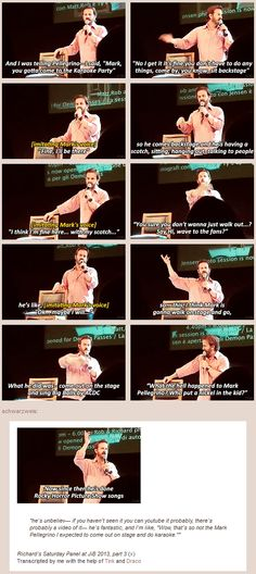 Richard Speight Jr. on getting Mark Pellegrino on the stage for Karaoke [gifset] click through for the whole thing!!