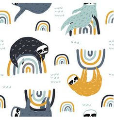 Seamless childish pattern with funny sloths on vector Textile Patterns, Textiles, Cloud Vector, Pattern Illustration, Illustration Kids, Creative Kids, Free Vector Art, Custom Fabric, Wallpaper