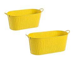 Set de 2 maceteros de metal Mani - amarillo