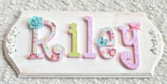 Custom Name Sign Plaque, Wooden Letters for Nursery, Baby Name, Girl Nursery Decor, Kids Children Room, Personalized Baby Shower Gift. $85.00, via Etsy.
