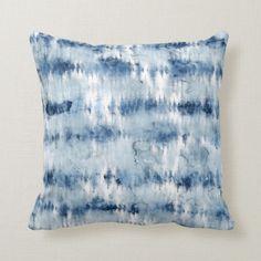 Shop Modern summer navy blue tie dye watercolor throw pillow created by girly_trend. Dark Blue Tie, Blue Ties, Blue Tie Dye, Dark Navy, Navy Blue Couches, Navy Blue Throw Pillows, Tie Dye Patterns, Pillow Patterns, Modern Boho