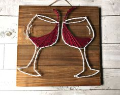 Items similar to Red Wine Glass - Original Painting - 5 x 7 Acrylic Painting on Canvas - Red Wine Art - Wine Gift on Etsy - - Diy Home Crafts, Fun Crafts, Arts And Crafts, String Crafts, Resin Crafts, Hilograma Ideas, Art Du Vin, Decorated Wine Glasses, Decorated Bottles