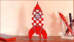 3D Tintin rocket photo frame hama perler beads by Rachel - Mes Petits Bonheurs