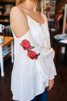Cut Out Cold Shoulder Rose Floral Embroidered Sleeve Tie Front Bell Sleeve Peasant Top