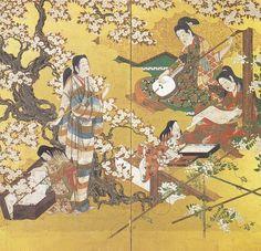 '桜下弾弦図屏風'