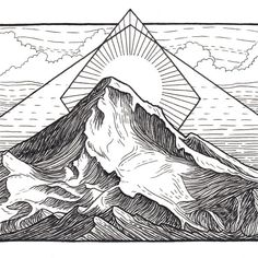 An archival giclee print of one of my original mountain drawings. This pen drawing is part of my Cascades Volcanoes series and depicts Mt. Hood in