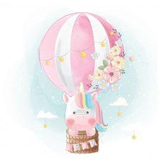 Rainbow unicorn flying with balloon Vector Premium Unicorn Art, Cute Unicorn, Rainbow Unicorn, Cute Animal Drawings, Cute Drawings, Cartoon Mignon, Unicornios Wallpaper, Unicorn Pictures, Unicorn Images