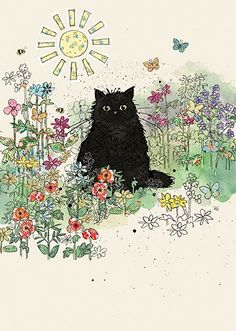 BugArt Collage ~ Black Garden Cat. Collage *NEW* Designed by Jane Crowther. #CatArt
