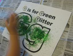 g is for green glitter alphabet activities for kids **free worksheet**
