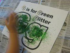 g is for green glitter alphabet activities for kids **free worksheet**