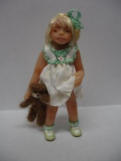 Miniature Little Toddler Girl Doll with her Teddy Bear, OOAK, B Justice, So…