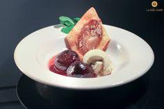 """Chef Françoise Pavillon's dessert: """"Figues rôties en chaud froid de crème glacée Vanille Bourbon"""""""