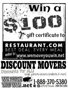Win a $100 gift certificate at http://www.wemoveyouwin.net