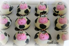 Cupcakes! - Cow Cupcakes  Chocolate cake, vanilla buttercream, modelling chocolate for cows and thin rolled fondant for patches :)