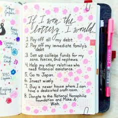 Day 16 of the #listersgottalist challenge: what I would do if I won the lottery (one of my favorite daydreams lol!) #hobonichi #roterfaden #lists #journal #journalingprompts #journalingprompts...
