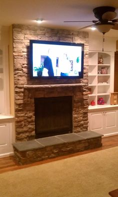 Stone Fireplace with TV | Over Fireplace TV Installation/ Stone | Decorating/Remodeling