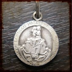 Antique French Silver Vintage Religious Medal of Our Lady of Loreto, Patron Saint of aviators and air travelers - Holy House with angels