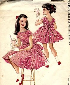Party Dress Patterns for Girls | 50s Little Girls Party Dress with Pleated Sash Pattern - McCalls 5018 ...
