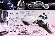 Futuristic Honda Revolver Concept Vehicle by Hongyup Song Motorcycle Art, Motorcycle Design, Bike Design, Bike Sketch, Car Sketch, Design Transport, Future Concept Cars, Futuristic Cars, Futuristic Vehicles