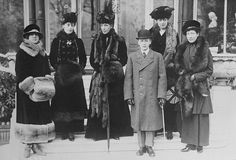 Princess Maud of Fife, Queen Maud of Norway, Queen Alexandra, Crown Prince Olaf of Norway, The Princess Victoria, and The Princess Louise, 1910s.