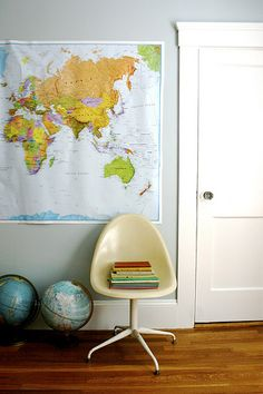 World map and globe -great interior styling